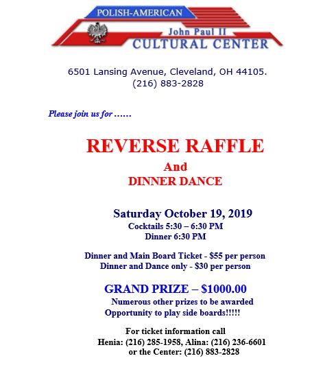 Reverse Raffle October 19, 2019 5:30 PM